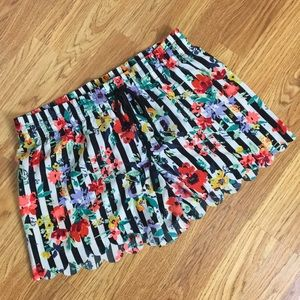 Floral Stripped Pajama Shorts